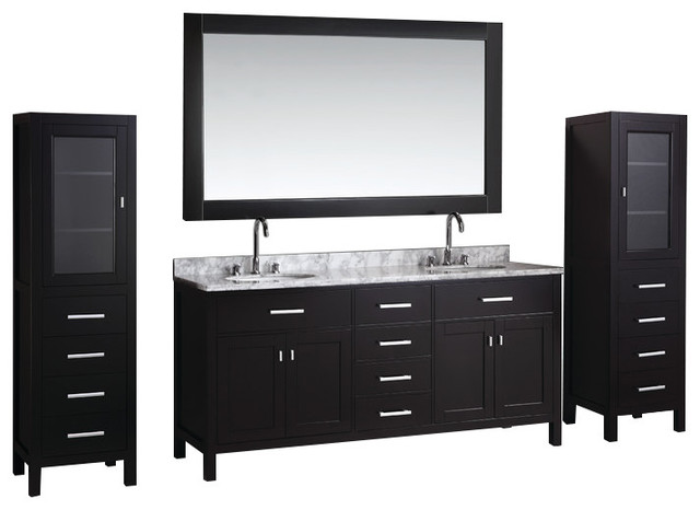 London 72 Double Sink Vanity Set In Espresso With Two Matching Linen Cabinets Transitional