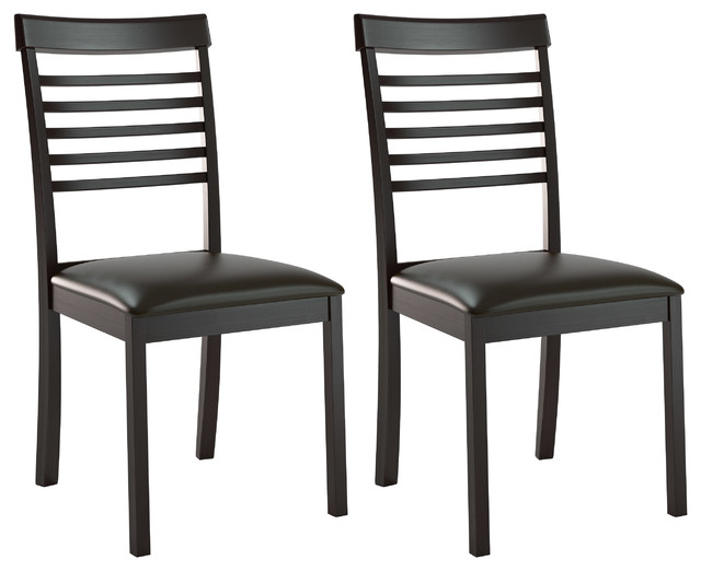Ladder Back Dining Chairs Chocolate Black Bonded Leather