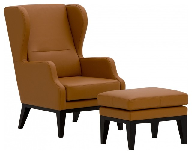 Sessel morley mit hocker semianilinleder cognac modern for Roter sessel mit hocker