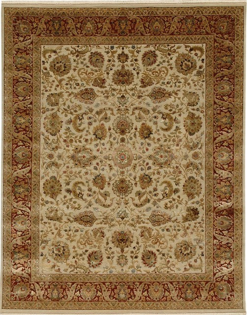 Hand Knotted Oriental Pattern Wool Silk Ivory Red Area