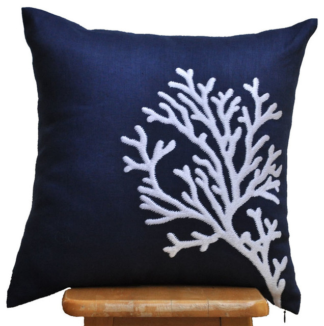 Modern Embroidered Pillow : Coral Embroidered Pillow Cover - Modern Coastal Pillow Cover - Contemporary - Decorative Pillows ...