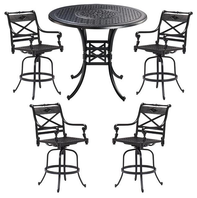 Carlisle 5 Pc High Outdoor Dining Set In Black Finish
