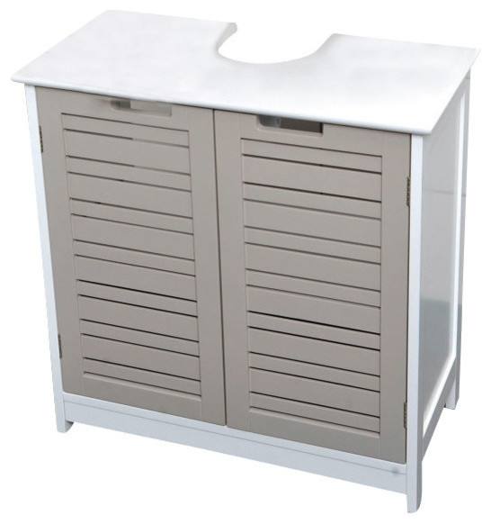 Bath Under Sink Storage Vanity Cabinet SO ROMANTIC Wood 23.6Hx23.6L Taupe - Beach Style ...