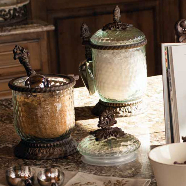 The gg collection glass canisters with scoop for Kitchen decor collections