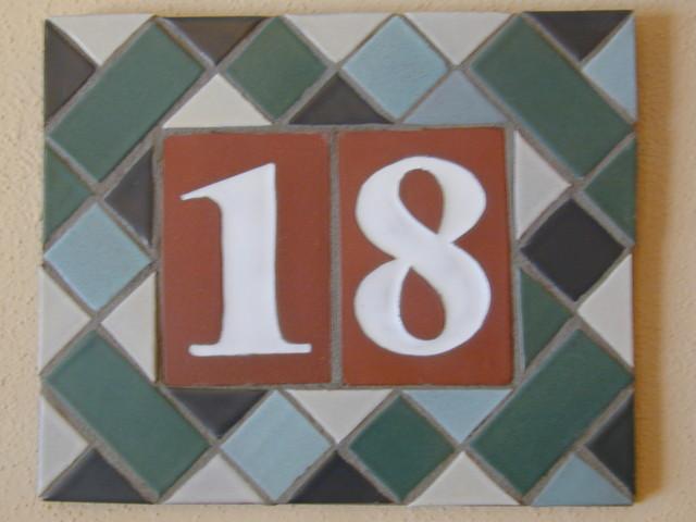 Custom tile address plaque mediterranean house numbers for Mediterranean house numbers