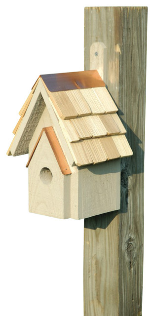 Classic birdhouse smoke grey rustic bird houses by for Classic bird houses