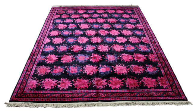Overdyed Art Deco Floral Wool Rug Hot Pink Navy 8 X10