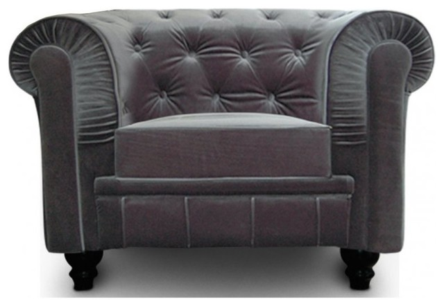fauteuil fixe chesterfield royal en velours gris capitonn contemporain fauteuil par inside75. Black Bedroom Furniture Sets. Home Design Ideas