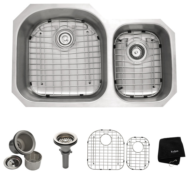 Kraus Undermount 60/40 Double Bowl Stainless Steel Kitchen Sink modern ...
