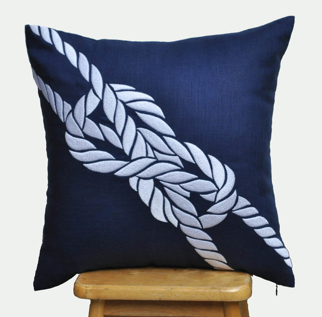 White Coastal Throw Pillows : Knot Decorative Pillow Cover in Navy Blue Linen and White, Coastal Pillow - Modern - Scatter ...