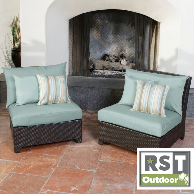 Rst Outdoor Bliss Patio Furniture Armless Chairs Set Of 2 Contemporary Garden Lounge