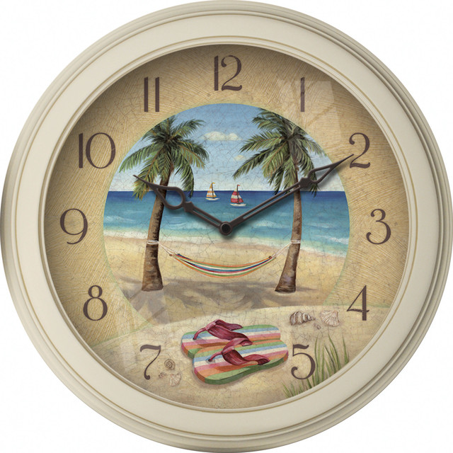 Beach Plastic Clock Beach Style Wall Clocks By FirsTime