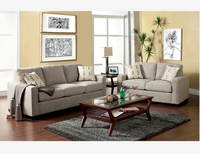 Modern Pewter Fabric Sofa Couch Loveseat Nailhead Trim