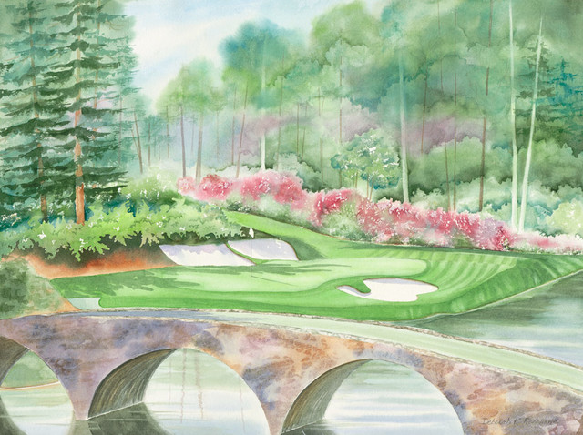 Augusta national 12th hole wall mural contemporary for Augusta national wall mural