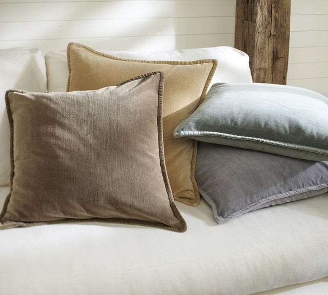 Traditional Accent Pillows : Washed Velvet Pillow Cover - Traditional - Decorative Pillows - sacramento - by Pottery Barn