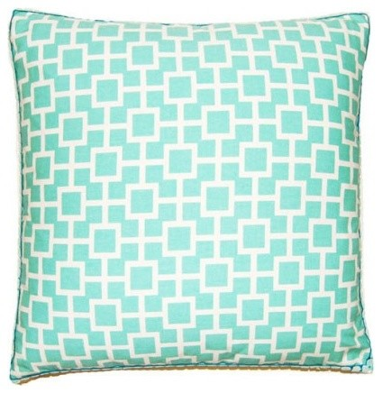 Square Feathers Picnic Turquoise Teal Squares Pillow - Modern - Decorative Pillows - los angeles ...
