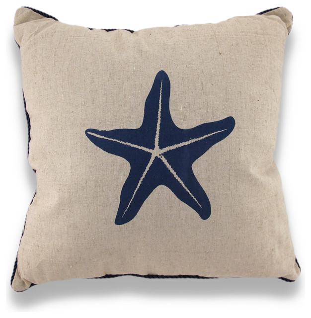 Starfish Nautical Throw Pillow Blue Rope Trim Beach