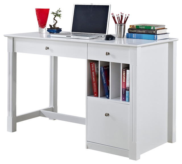 Deluxe White Wood Computer Desk Without Hutch