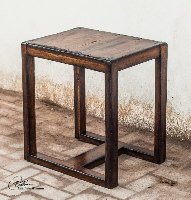 rustic wood end table 2