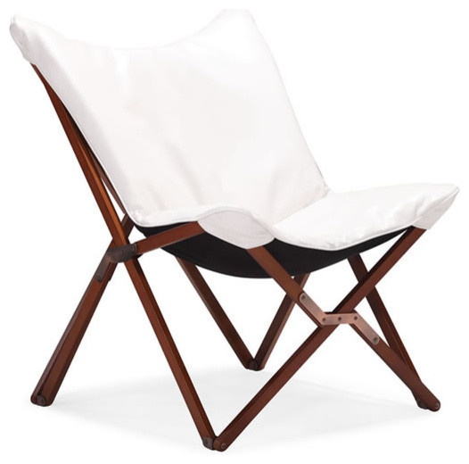 Modern White Folding Lounge Chair Draper