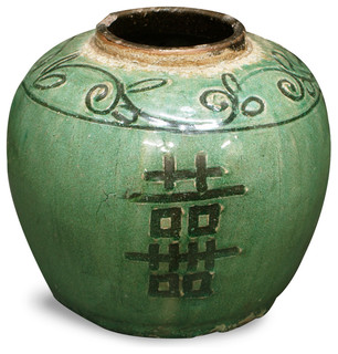 Antique Ceramic Jar, Double Happiness 2 - Asian - Indoor Pots And ...