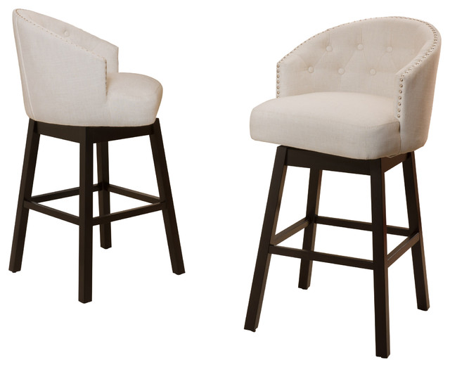 Westman Beige Fabric Swivel Backed Barstool Set Of 2 Transitional Bar St