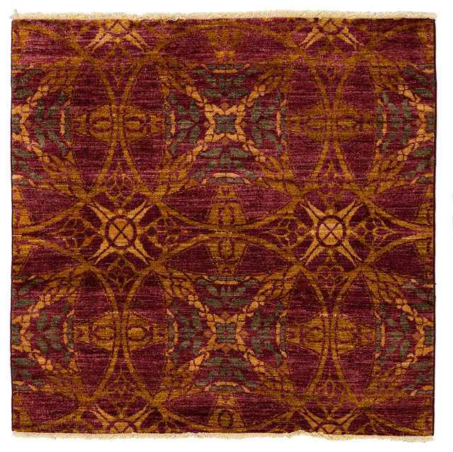 Suzani Wool Area Rug, Red, 3x5 - Modern - Area Rugs - by Solo Rugs