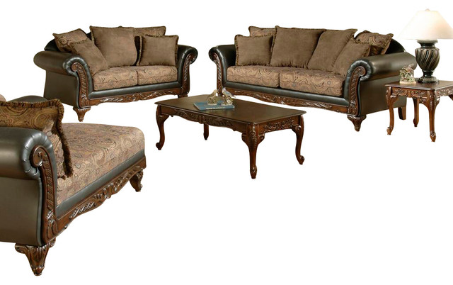 Chelsea Home Serta Ronalynn 3 Piece Living Room Set In San Marino Choclate Poly Traditional