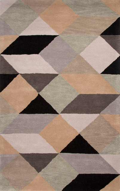 Jaipur hand tufted geometric pattern wool gray yellow area for Geometric print area rugs