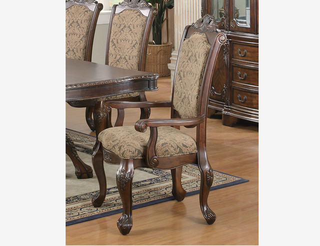 Coaster 2 PC Formal Brown Cherry Wood Dining Arm Chairs