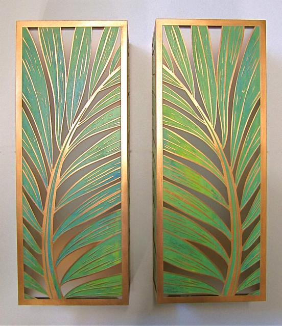 Tropical Bathroom Wall Decor: Coconut Palm Sconces