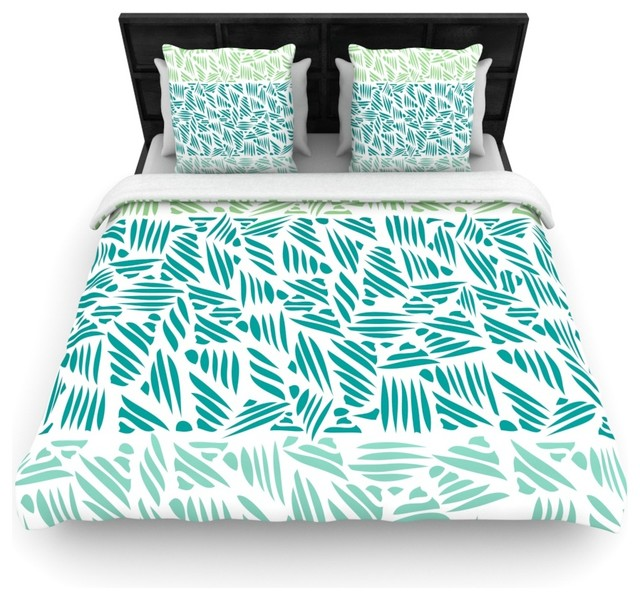 pom graphic design bamboo teal green cotton duvet cover king 104 x88 contemporary duvet. Black Bedroom Furniture Sets. Home Design Ideas