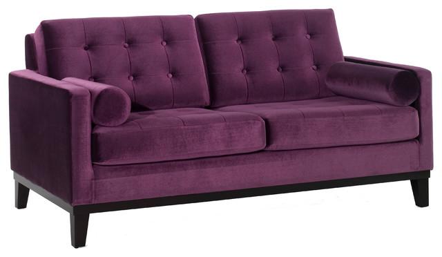 Centennial loveseat in purple velvet transitional for Button tufted chaise settee velvet aubergine