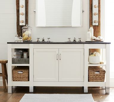 White Barn Sink : Napa Double Sink Console, White with Limestone Countertop traditional ...
