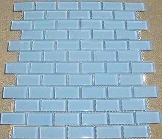 B25 Light Aqua Blue Subway Glass Mosaic Tile