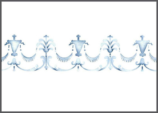 Petit border banner wall stencil mediterranean wall - Border stencils for painting ...