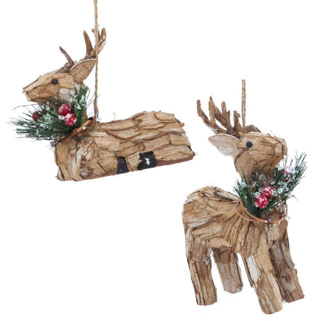 Natural Fiber Wintery Deer Christmas Ornaments Set Of 2
