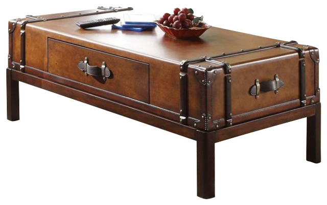 Riverside Furniture Latitudes Suitcase Cocktail Table In Aged Cognac Wood Transitional