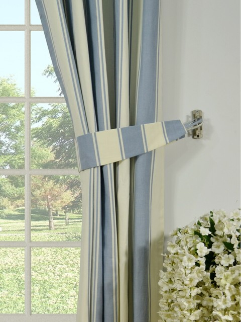 Blue Striped Cotton Blackout Window Curtains Modern