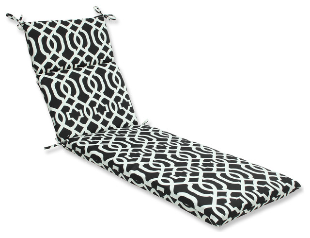 new geo and white chaise lounge cushion black