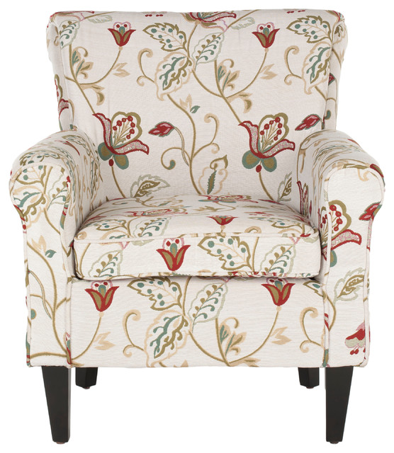 Hazina Club Chair White Red Flower Printed Transitional