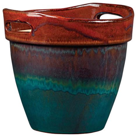 New England Pottery Wasabi Glazed Ceramic Planter Asian