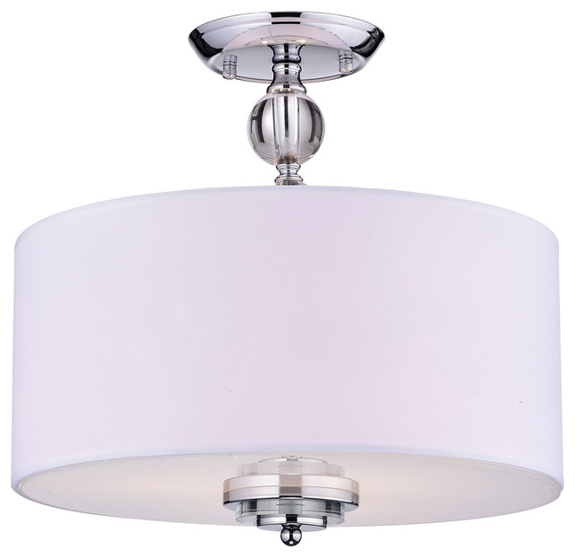 Flush Ceiling Chandeliers: Bridget Crystal Drum Chandelier, Chrome And Off White