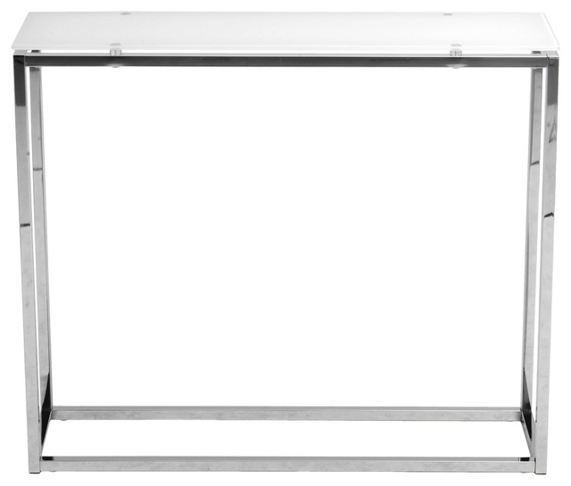 Sandor console table pure white glass chrome modern for White and glass console table