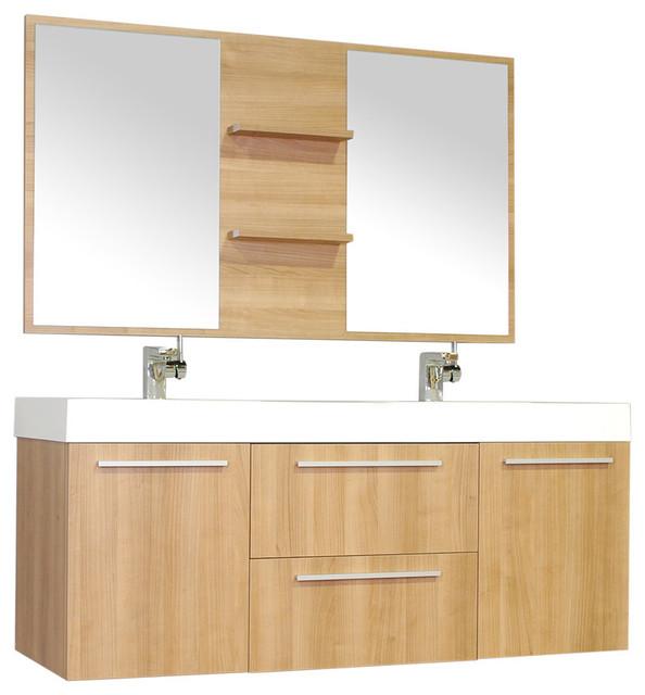 Double wall mount modern bathroom vanity light oak modern bathroom vanity units sink - Light oak bathroom vanity units ...