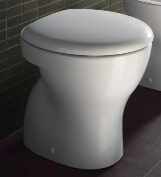 Round White Ceramic Floor Toilet With Seat And Cover Contemporary Toilets