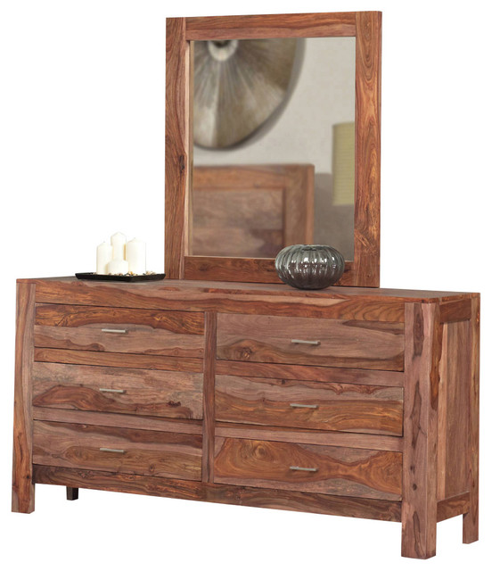 Modus Atria Dresser with Mirror in Natural Sheesham - Traditional - Dressers - by Beyond Stores
