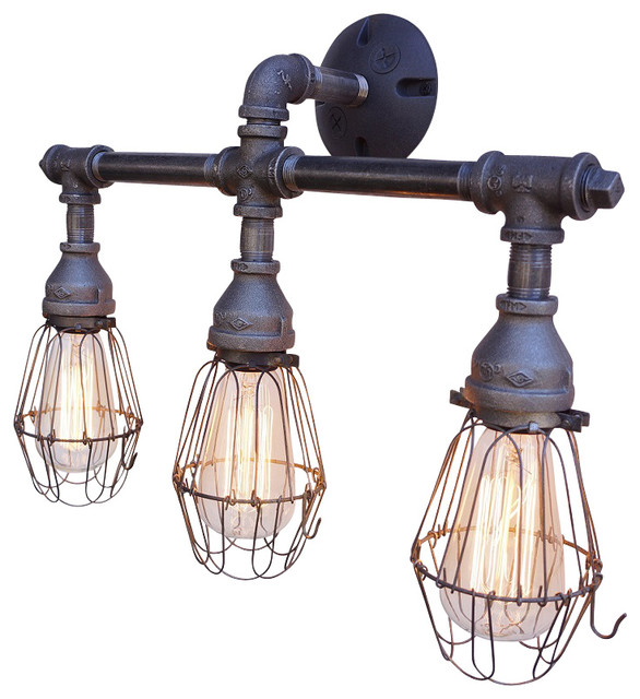 Axel 3 light vanity fixture with wire cages industrial for Bathroom 3 light fixtures