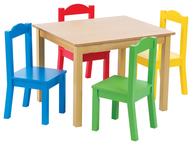 Primary Focus Wood Table And Chairs Set Transitional Kids Tables And Chairs By Tot Tutors
