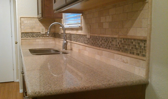 Kitchen Backsplash Travertine Subway Glass Mosaic Traditional Austin By Custom Surface